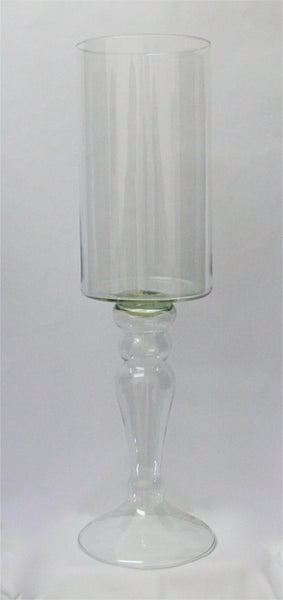 Candle Holder Hurricane Small - Light Green Glass (15cm x 40cm) 1