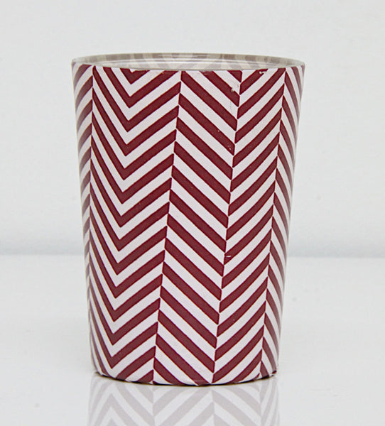 Tea Light holder Red Stripes Large 1