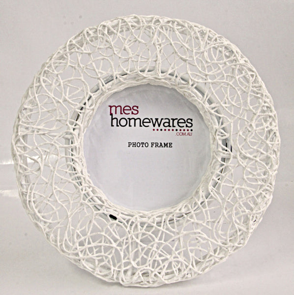 Photo frame Cotton thread round iron D20, white 1