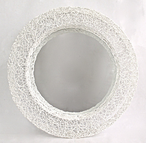 Mirror Cotton thread round mirror frame D59, white 1