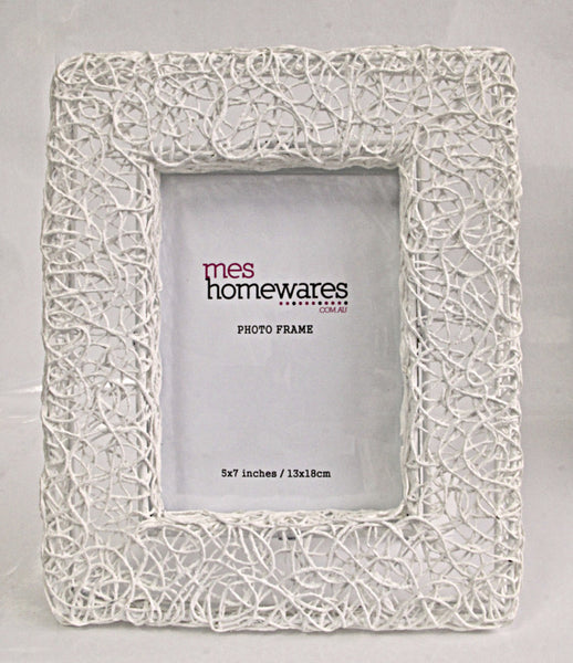 Photo Frame Cotton thread rectangular iron photo frame 28x23, white 1