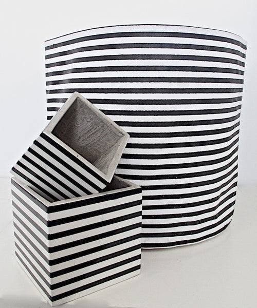 Bag - Large Black and White Stripe