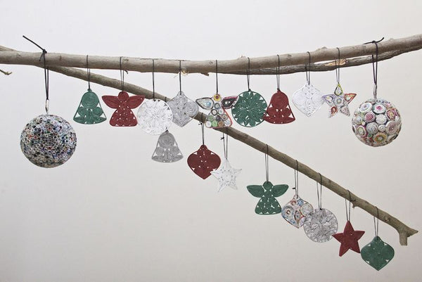 Recycled Paper Christmas Decorations