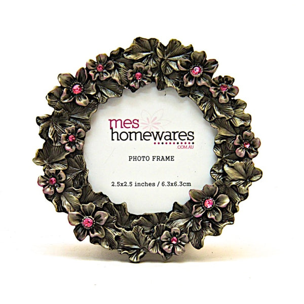 Photo Frame Tin Flowers 2.5×2.5