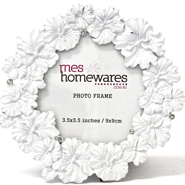 Photo Frame White Flowers 3.5×3.5