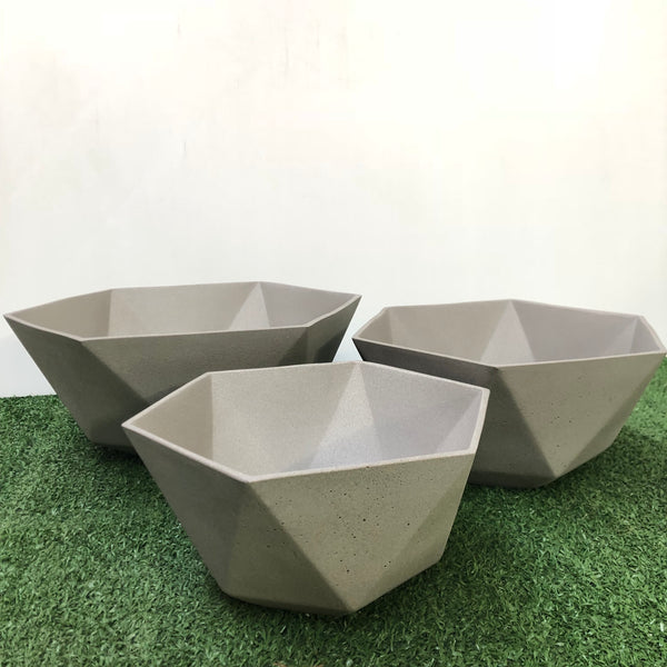 Hexagon Pot Set of 3. Min order 4 sets