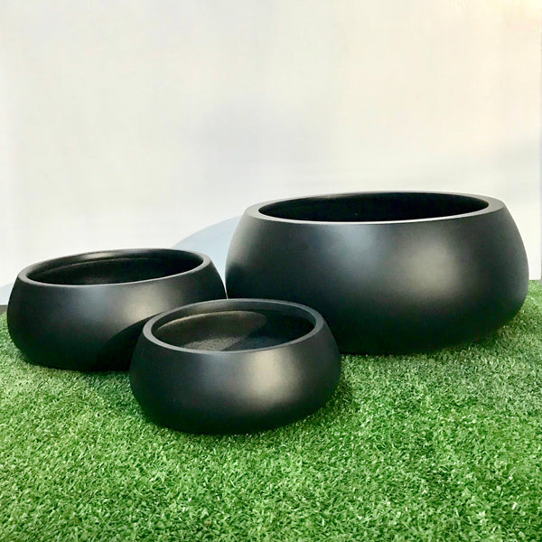 Mushroom - Matte Black Set of 3