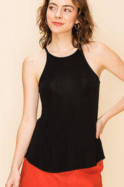 The Ashley High Neck Swing Cami - Black (4481090650160)