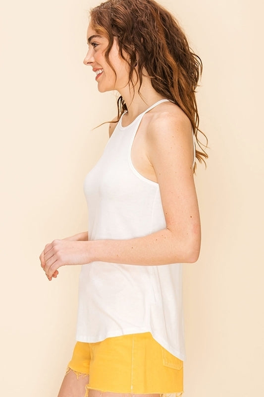 The Ashley High Neck Swing Cami - White (4481091108912)