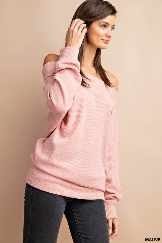 The Bentley Blush Off the Shoulder Tee (4418483781680)