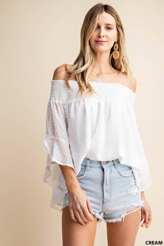 The Swiss Dot Chiffon Off the Shoulder Top (4418484994096)