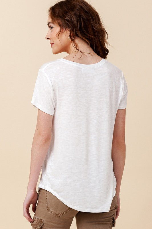 The Venice V-Neck Tee - White (4446865915952)