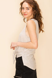 The Beverly Button Down Knot Tank - Moth Grey (4481106509872)