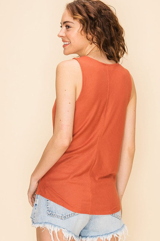 The Beverly Button Down Knot Tank - Terra Cotta (4481106247728)