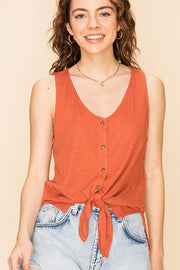 The Beverly Button Down Knot Tank - Terra Cotta