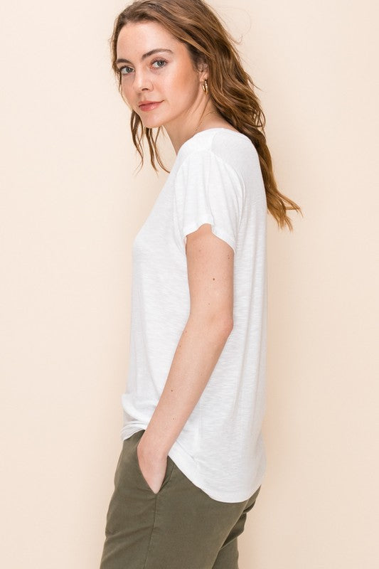 The Summer Scoop-Neck Tee (White)