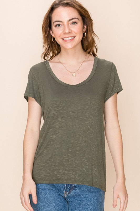 The Summer Scoop-Neck Tee (Olive)