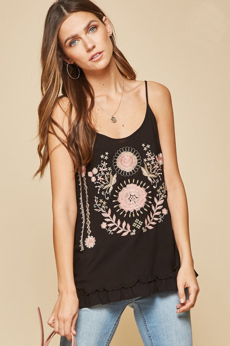The Sanibel Rose Emboidered Cami