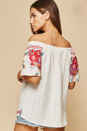 The Costa Maya Embroidered Off the Shoulder Top