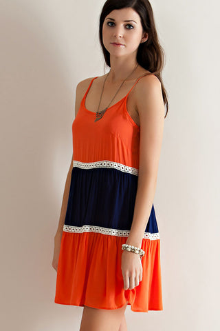 Orange & Blue Colorblock Game Day Dress Dress Entro - Bows and Arrows FSU Seminoles and UF Gators Women's Game Day Dresses and Apparel