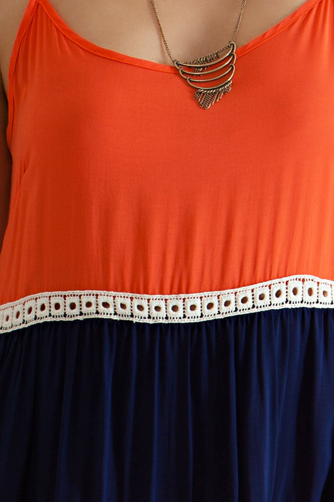 Orange & Blue Colorblock Game Day Dress