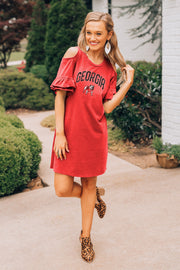 Georgia Bulldogs Adventure Awaits Cold Shoulder Snow Washed Dress (3815515881520)