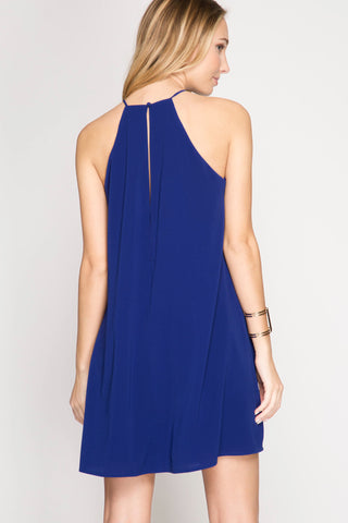 Royal Blue High Neck Game Day Dress