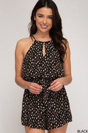 The Printed Keyhole Romper (Black)
