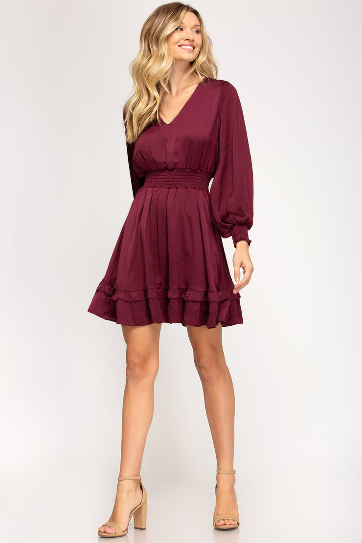 The Very Merry Wine Satin Dress