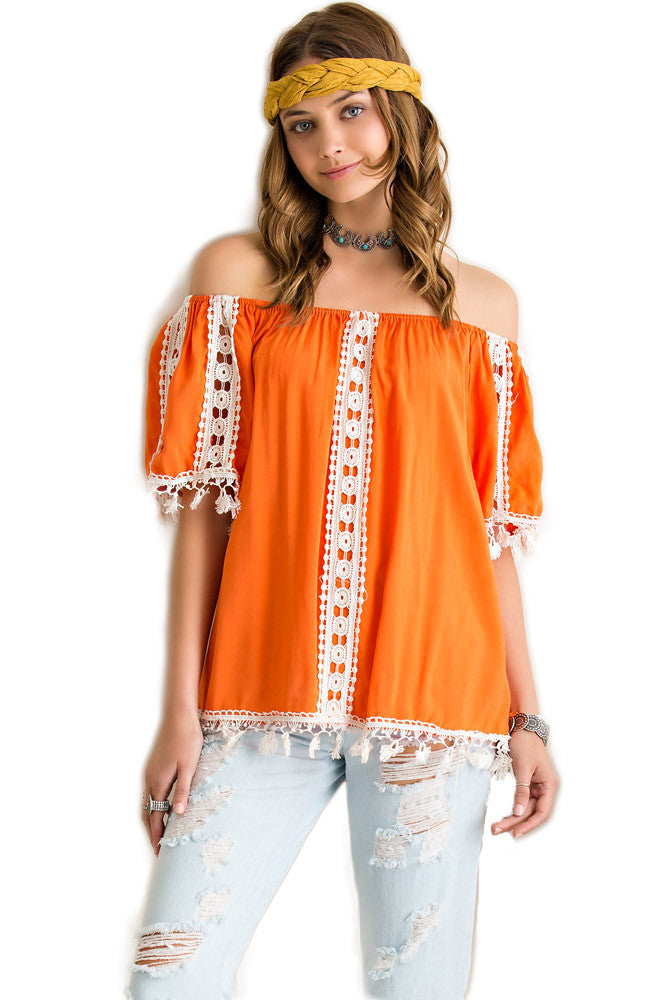 Sunset Boho Off-Shoulder Top Off Shoulder Top Entro - Bows and Arrows FSU Seminoles and UF Gators Women's Game Day Dresses and Apparel