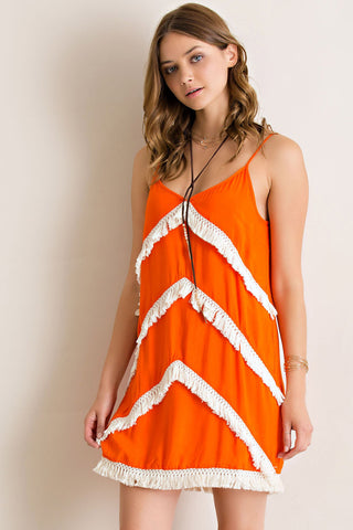 Sunset Boho Fringe Dress Dress Entro - Bows and Arrows FSU Seminoles and UF Gators Women's Game Day Dresses and Apparel