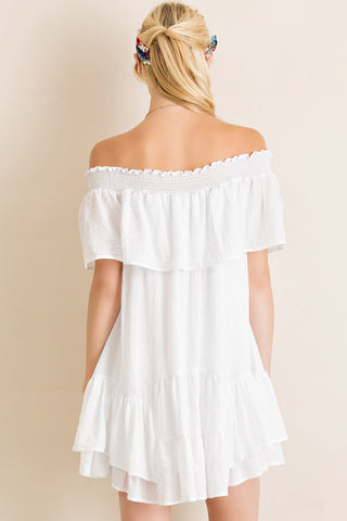 White Ruffle Off Shoulder Game Day Dress