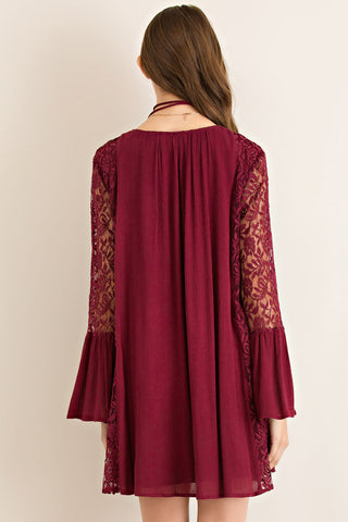 Garnet Lace Bell Sleeve Game Day Dress Game Day Dresses Entro - Bows and Arrows FSU Women's Game Day Dresses and Apparel
