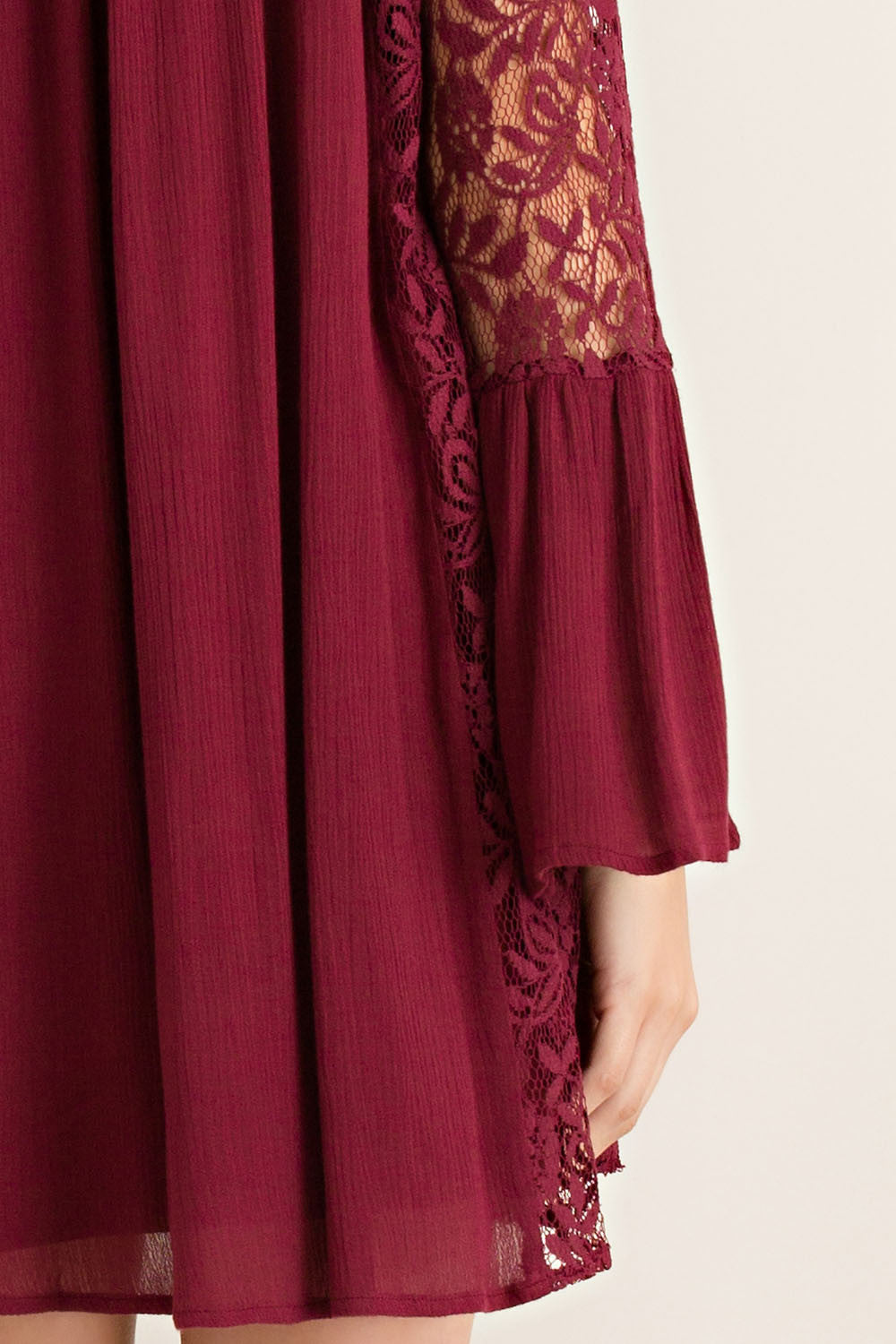 Garnet Lace Bell Sleeve Game Day Dress