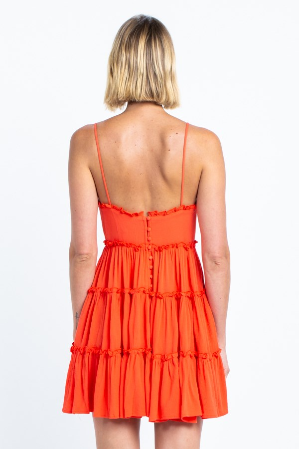 The Living Coral Ruffle Trim Mini Dress