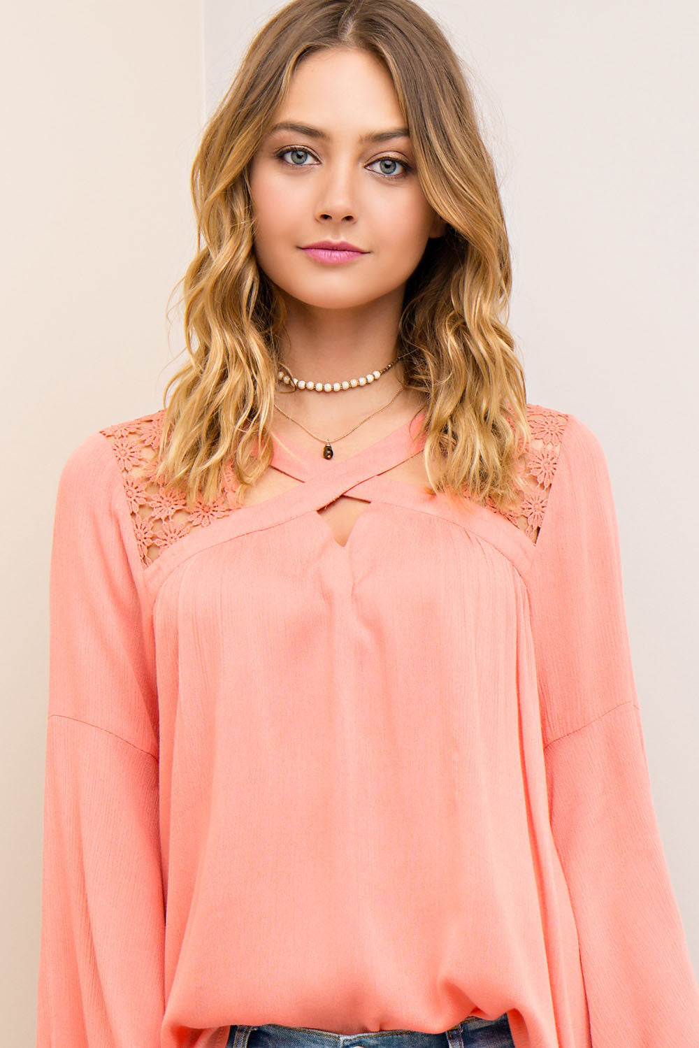 Coral Crush Boho Top