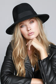 The Isabella Wool Felt Panama Hat - Black (4251882520624)
