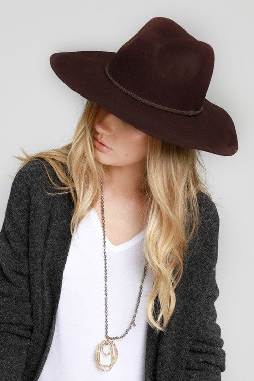 The Charlotte Wool Felt Wide Brim Panama Hat - Brown (4251958640688)