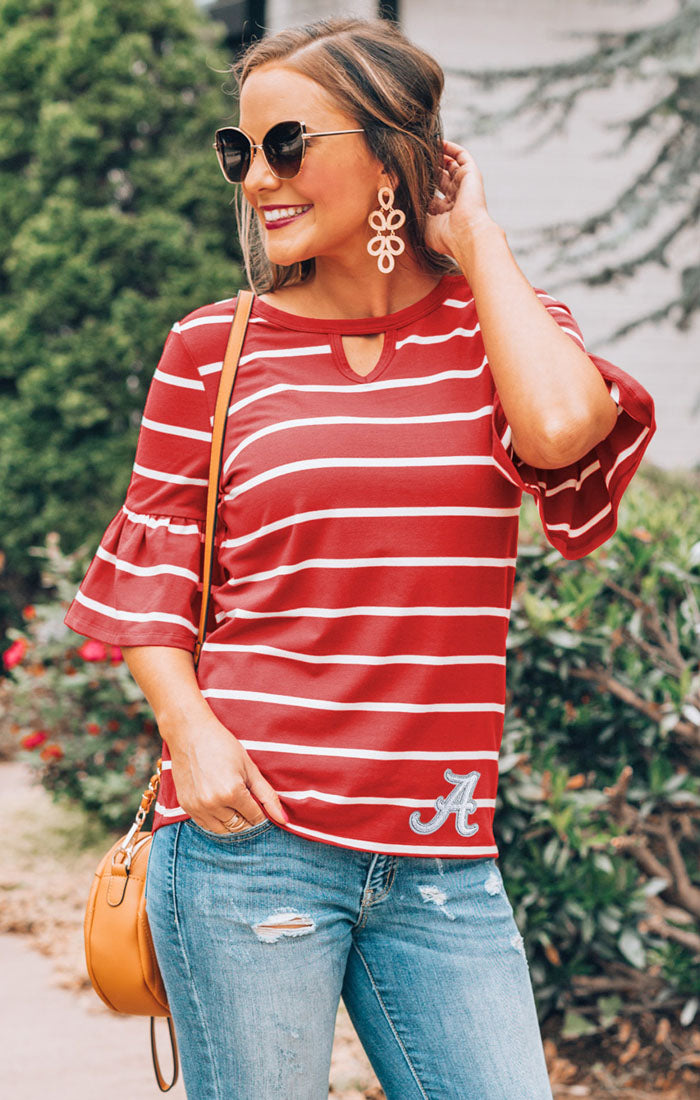 Alabama Go with the Flow Striped Keyhole Ruffle Top (3814056296496)