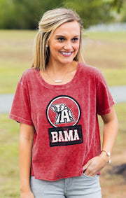 Alabama Keep it Cropped Snow Washed Tee (3814084706352)