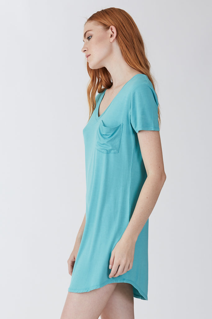 The Cassidy Pocket T-Shirt Dress (Sea Glass)