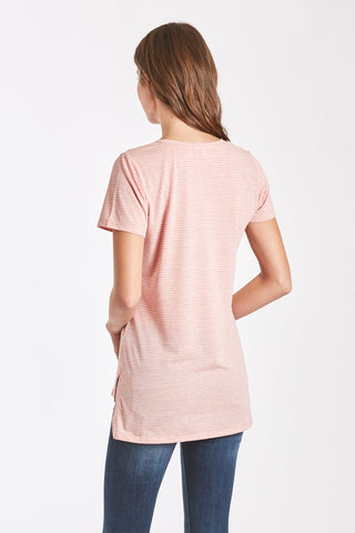 Eileen Stripe V Neck Pocket Tee - Blush