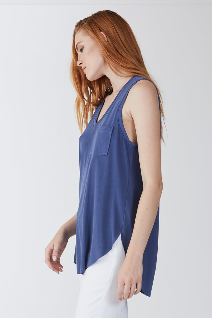 The Esther Pocket Tank (Dark Denim)