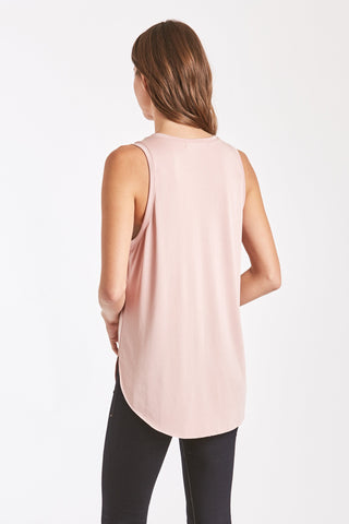 The Esther V Neck Pocket Tank - Blush