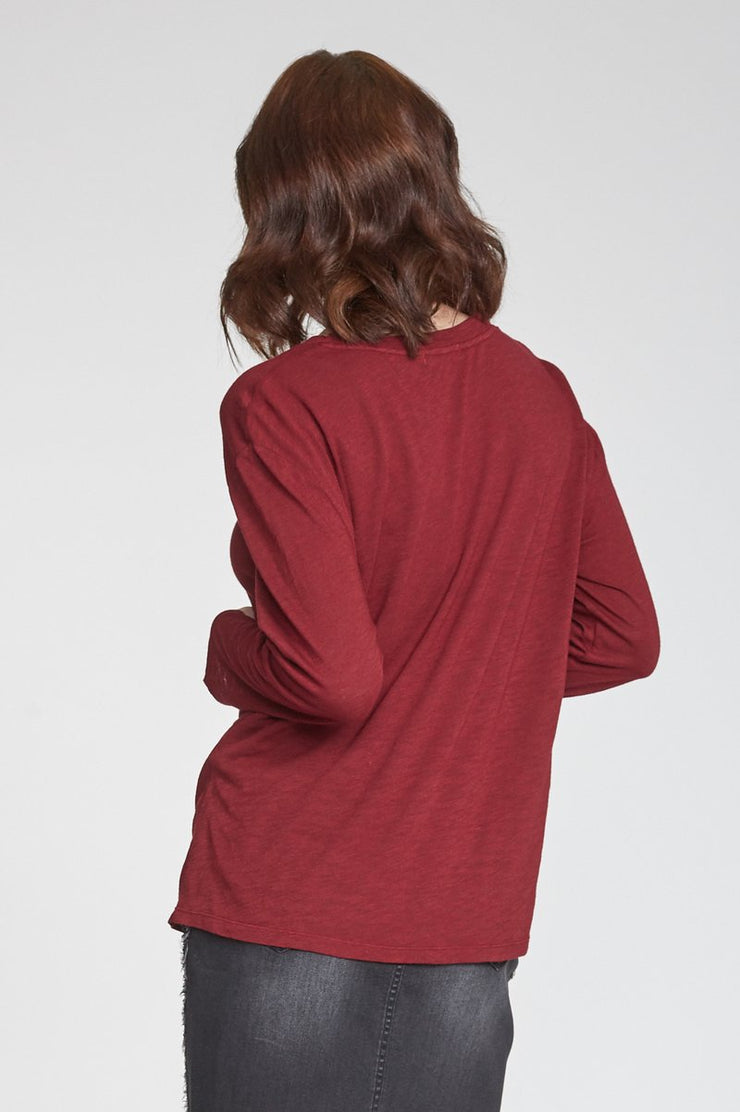 The Juliana Long Sleeve Tie Front Tee (Bordeaux) (4324126130224)