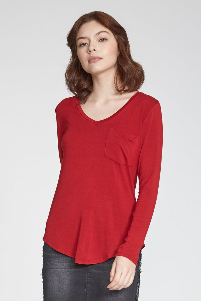 The Molly Long Sleeve V-Neck Pocket Tee (Cherry Red)