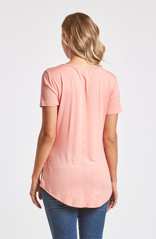 The Phoenix V Neck Pocket Tee - Blush