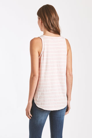 Rebecca Stripe V Neck Pocket Tank - Blush