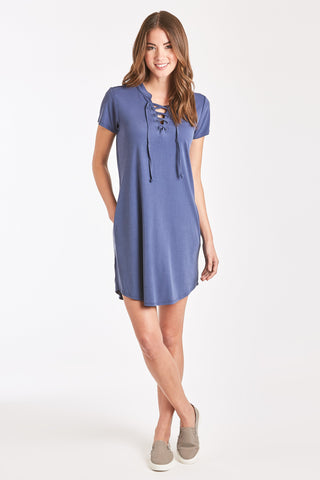 The Tabatha Lace Tee Dress - Indigo