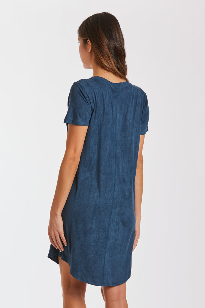 The Cassidy Suede T-Shirt Dress - Dark Teal